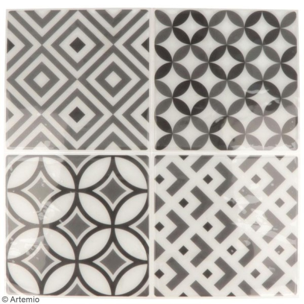 Stickers carreaux de ciment - 12,5 x 12,5 cm - Gris - 4 pcs - Photo n°2