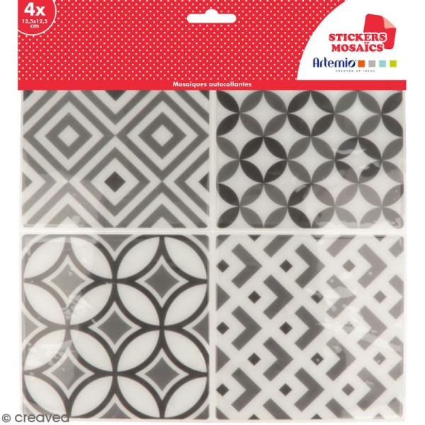 Stickers carreaux de ciment - 12,5 x 12,5 cm - Gris - 4 pcs - Photo n°1