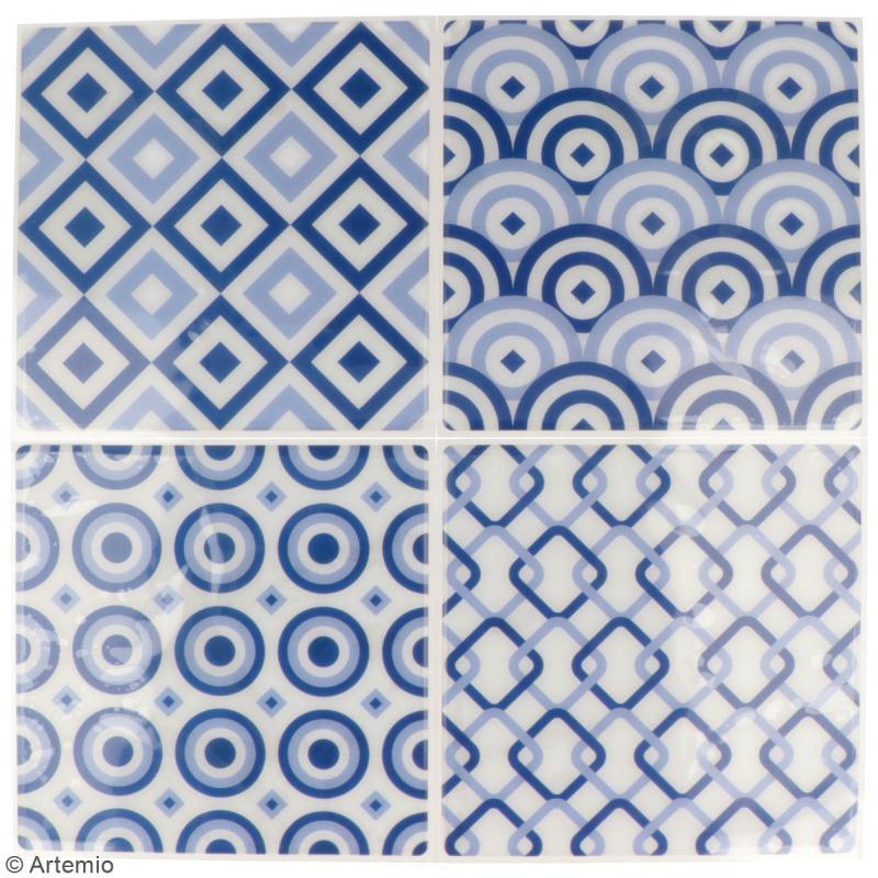 Stickers carreaux de ciment - 12,5 x 12,5 cm - Bleu - 4 pcs - Photo n°2