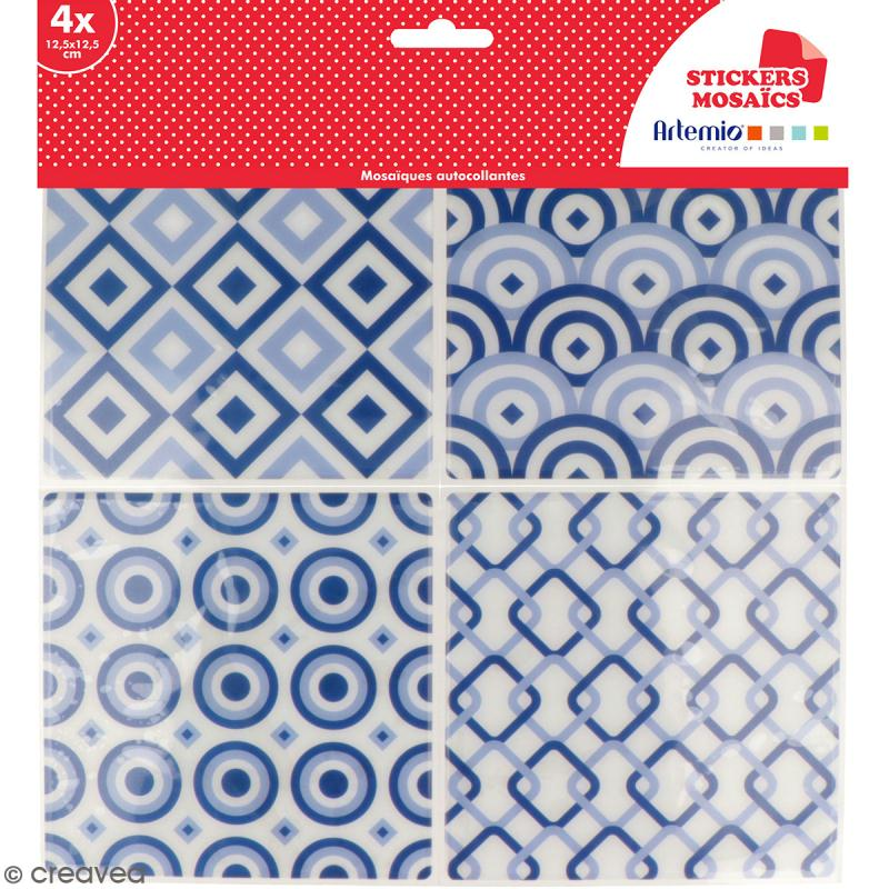 Stickers carreaux de ciment - 12,5 x 12,5 cm - Bleu - 4 pcs - Photo n°1