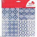 Stickers carreaux de ciment - 12,5 x 12,5 cm - Bleu - 4 pcs
