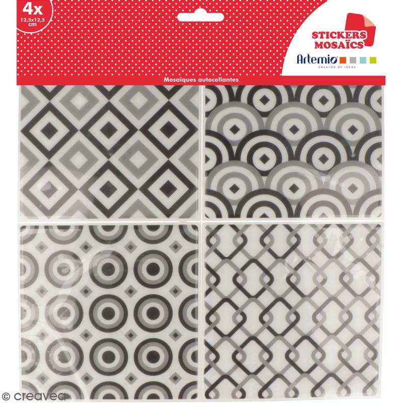 Stickers carreaux de ciment - 12,5 x 12,5 cm - Gris - 4 pcs - Photo n°1