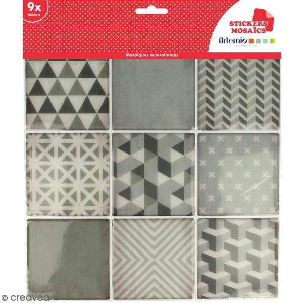 Stickers carreaux de ciment - 8 x 8 cm - Gris - 9 pcs - Photo n°1