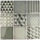Stickers carreaux de ciment - 8 x 8 cm - Gris - 9 pcs - Photo n°2