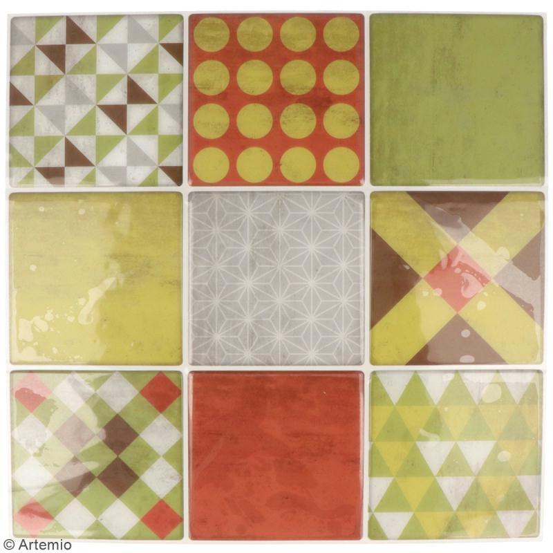 Stickers carreaux de ciment - 8 x 8 cm - Rouge et vert - 9 pcs - Photo n°2