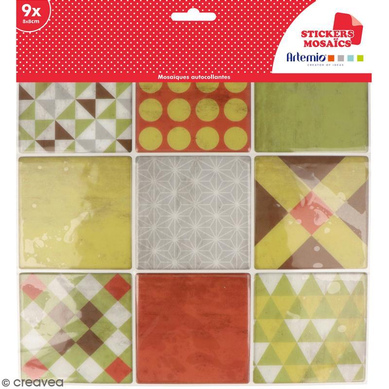 Stickers carreaux de ciment - 8 x 8 cm - Rouge et vert - 9 pcs - Photo n°1