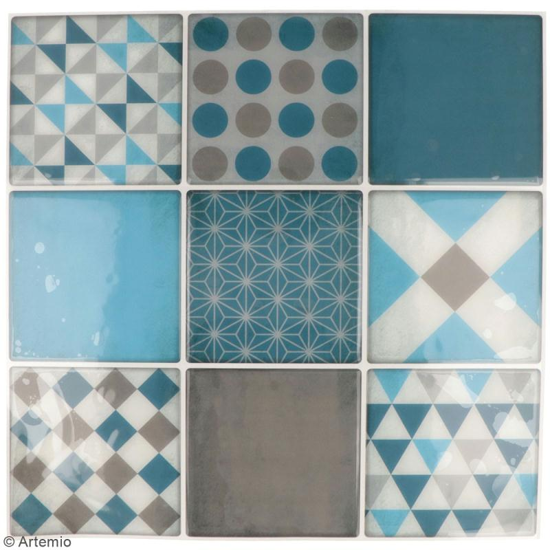 Stickers carreaux de ciment - 8 x 8 cm - Bleu - 9 pcs - Photo n°2