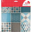 Stickers carreaux de ciment - 8 x 8 cm - Bleu - 9 pcs - Photo n°1