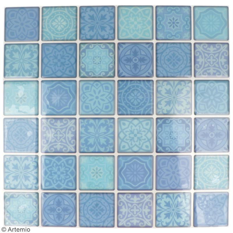 Stickers carreaux de ciment - 4 x 4 cm - Bleu - 30 pcs - Photo n°2