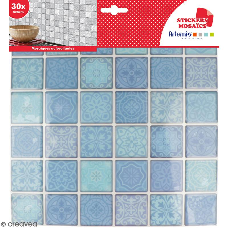 Stickers carreaux de ciment - 4 x 4 cm - Bleu - 30 pcs - Photo n°1