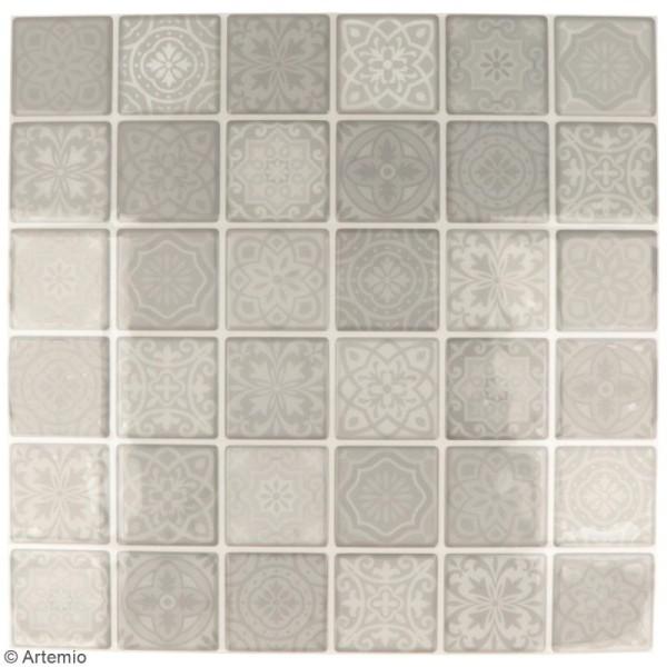Stickers carreaux de ciment - 4 x 4 cm - Gris - 30 pcs - Photo n°2
