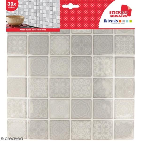 Stickers carreaux de ciment - 4 x 4 cm - Gris - 30 pcs - Photo n°1
