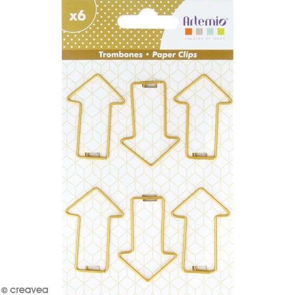 Trombones Flèches dorées - 3 x 4 cm - 6 pcs - Photo n°1