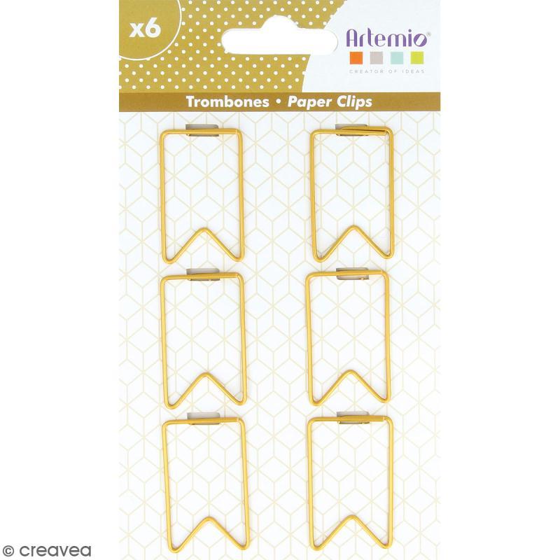 Trombones Fanions dorés - 2 x 3 cm - 6 pcs - Photo n°1