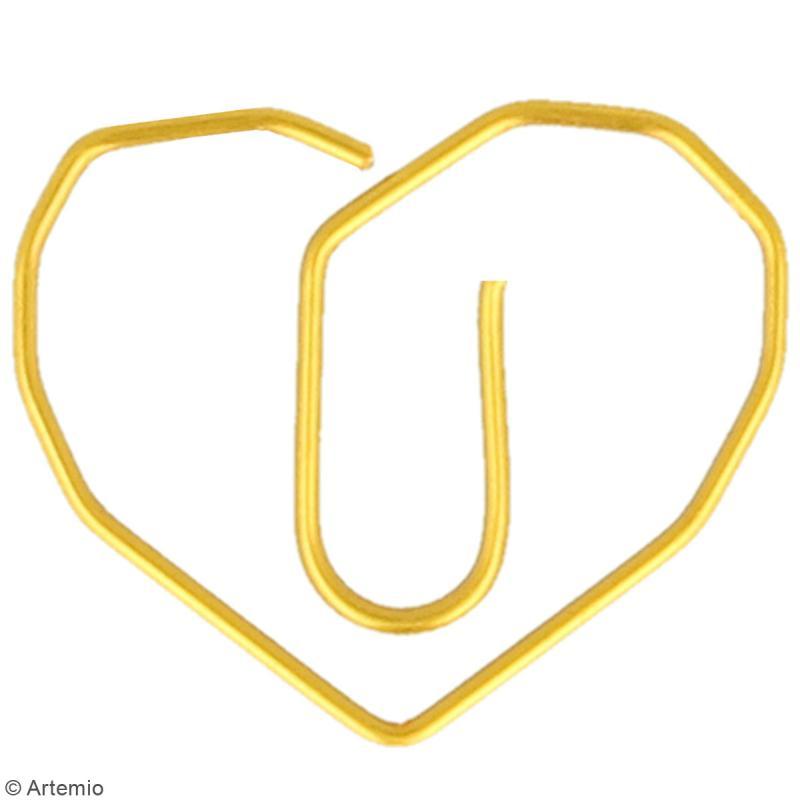 Trombones Coeurs dorés - 2,5 x 3,5 cm - 6 pcs - Photo n°2