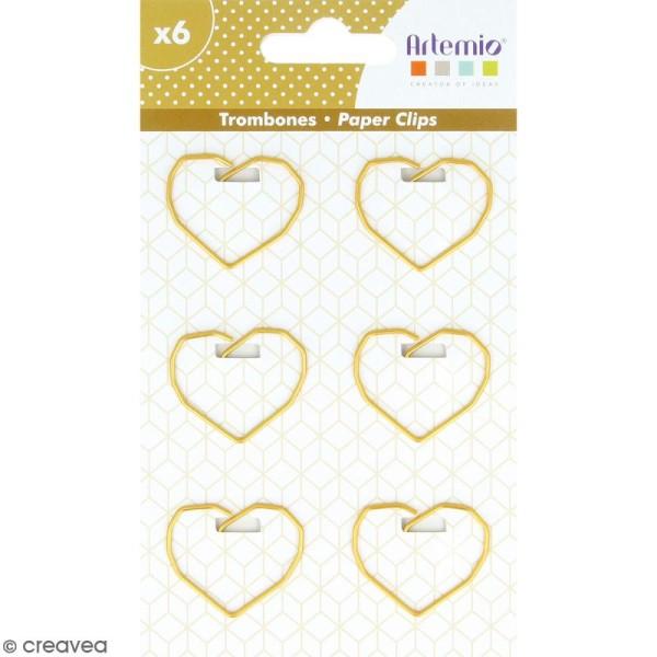 Trombones Coeurs dorés - 2,5 x 3,5 cm - 6 pcs - Photo n°1
