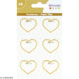 Trombones Coeurs dorés - 2,5 x 3,5 cm - 6 pcs
