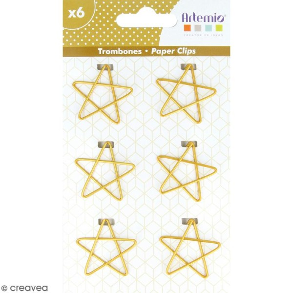 Trombones Etoiles dorées - 3 x 3 cm - 6 pcs - Photo n°1