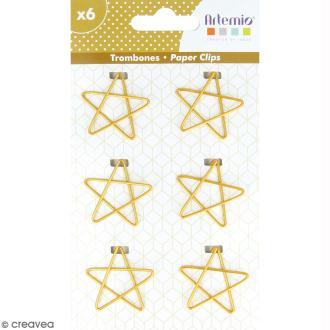 Trombones Etoiles dorées - 3 x 3 cm - 6 pcs