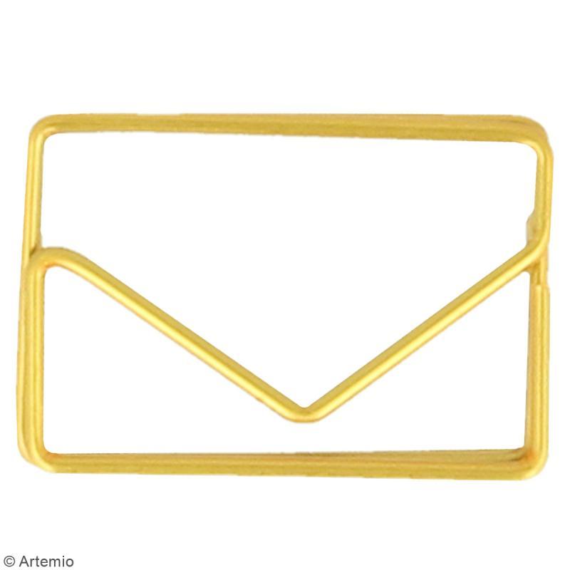 Trombones Enveloppes dorées - 3 x 2 cm - 6 pcs - Photo n°2