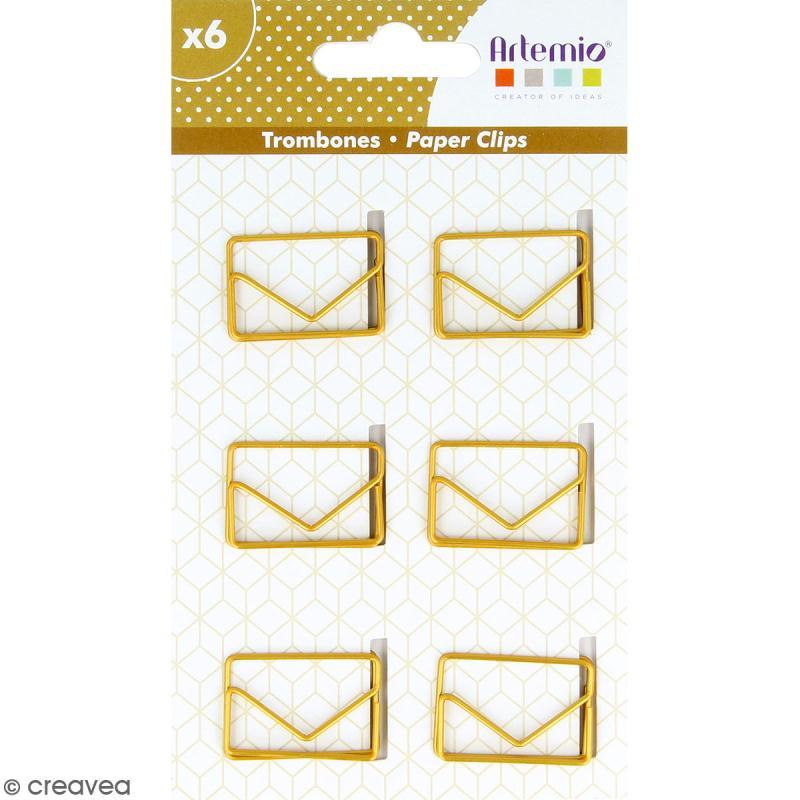 Trombones Enveloppes dorées - 3 x 2 cm - 6 pcs - Photo n°1