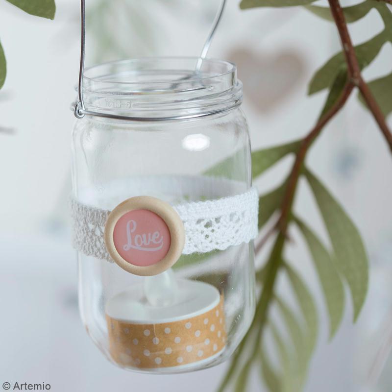 Boutons bois et epoxy à coller - Love story - 20 pcs - Photo n°4