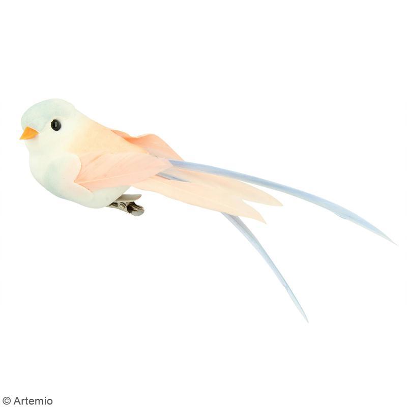 Oiseaux colorés sur pince - Plumes - Love story - 6 pcs - Photo n°2