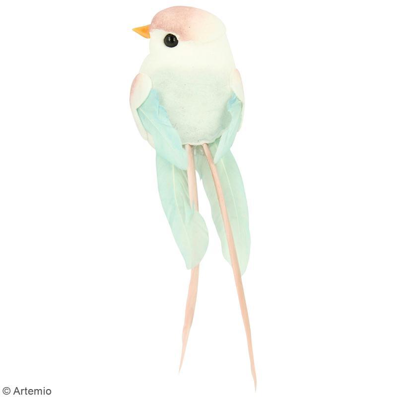 Oiseaux colorés sur pince - Plumes - Love story - 6 pcs - Photo n°3