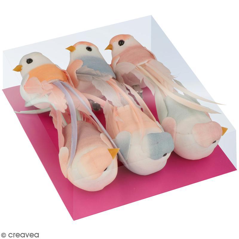 Oiseaux colorés sur pince - Plumes - Love story - 6 pcs - Photo n°1