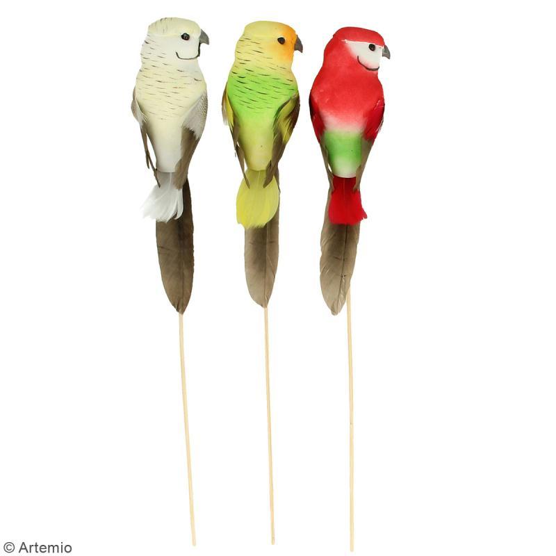 Oiseaux colorés décoratifs à piquer - Plumes - Perruches - 3 pcs - Photo n°2