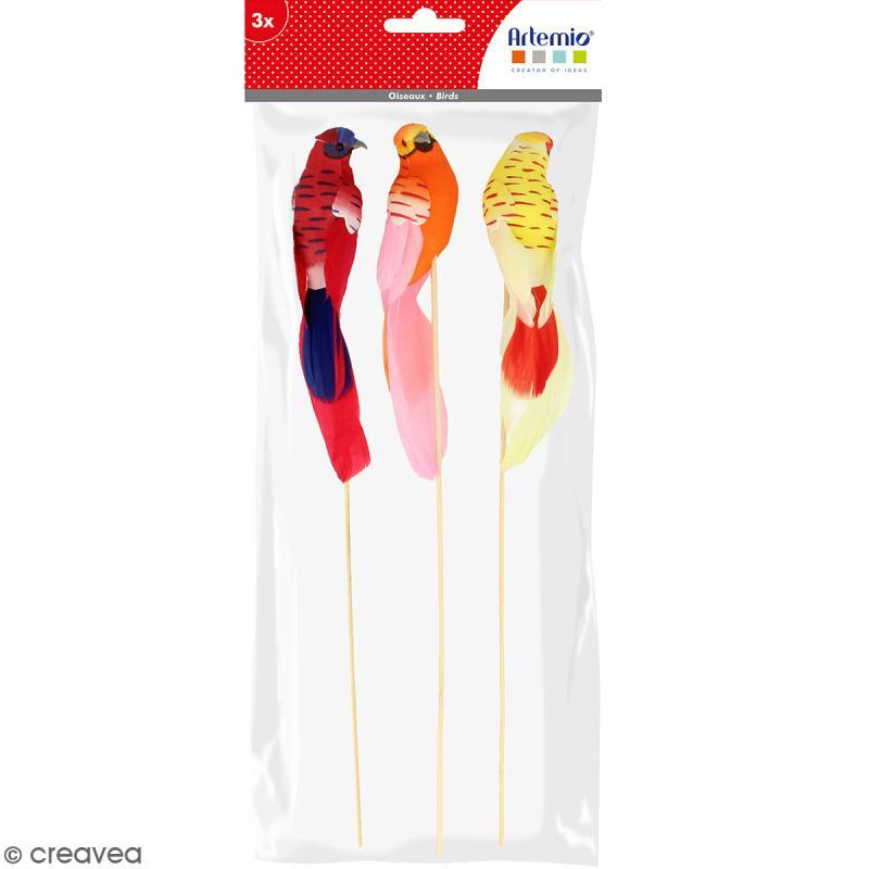 Oiseaux colorés décoratifs à piquer - Plumes - Petites perruches - 3 pcs - Photo n°1