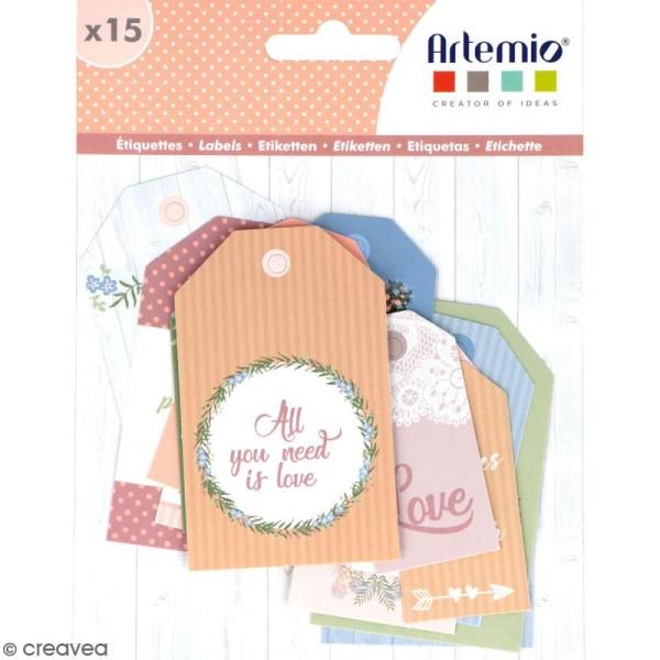 Die cut Artemio - Etiquettes Love story - 15 pcs - Photo n°1