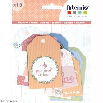 Die cut Artemio - Etiquettes Love story - 15 pcs