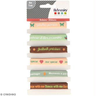 Rubans Artemio - Love story mots d'amour - 1 cm x 1 m - 6 pcs