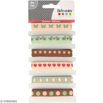 Rubans Artemio - Love story ensemble - 1 cm x 1 m - 6 pcs