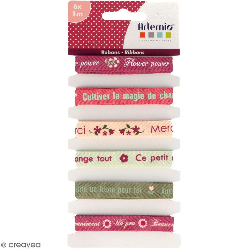 Rubans Artemio - Cultiver chaque instant - 1 cm x 1 m - 6 pcs - Photo n°1