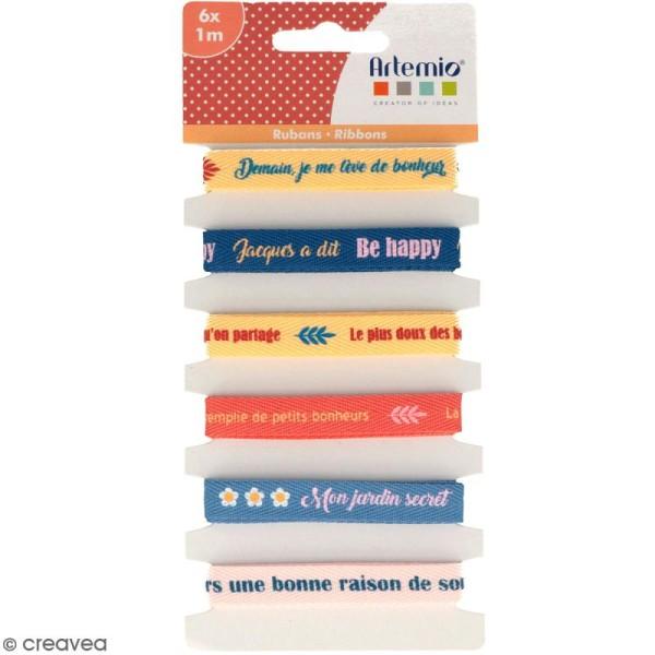 Rubans Artemio - Bonheur - 1 cm x 1 m - 6 pcs - Photo n°1