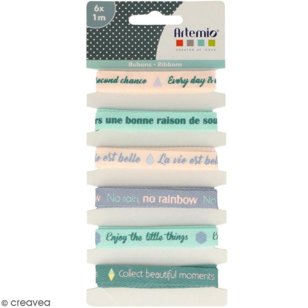Rubans Artemio - Message positif - 1 cm x 1 m - 6 pcs - Photo n°1