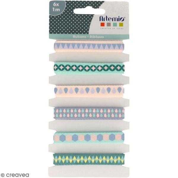 Rubans Artemio - Géométrique pastel - 1 cm x 1 m - 6 pcs - Photo n°1