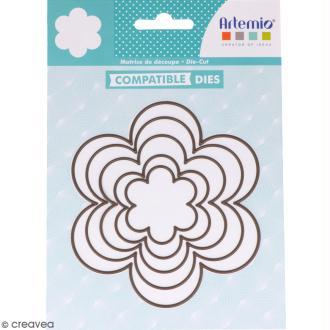 Set de dies imbriqués Artemio grand format - Fleurs - 12 cm - 5 pcs