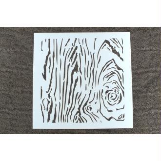 POCHOIR plastique en VINYLE motif : veinage de bois , Format 13.3 cm x 13.3 cm