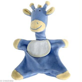 Doudou à broder au point de croix - Girafe Bleu - 30 cm