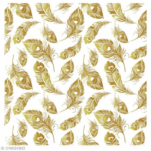 Sticker décoratif - Plume dorée - 20 x 20 cm - 1 pce - Photo n°1