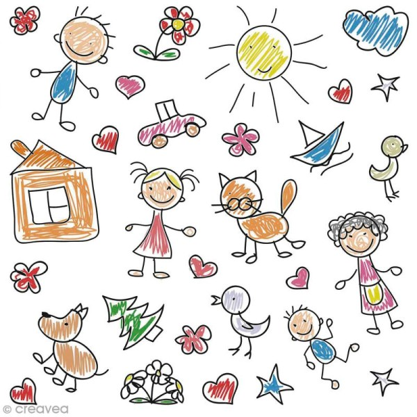 Sticker décoratif - Dessins d'enfant - 1 à 6 cm - 30 pcs - Photo n°1