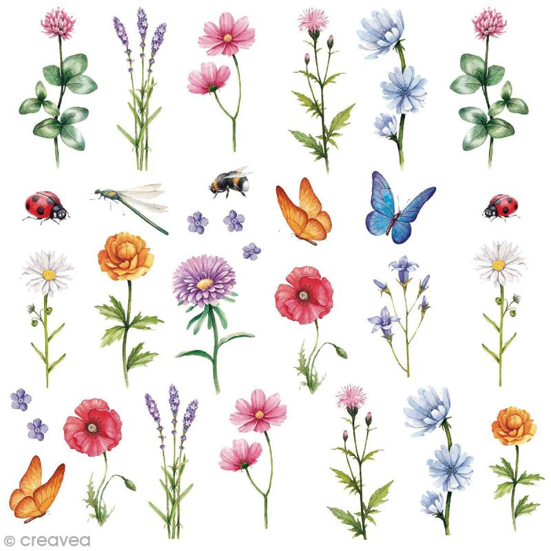 Sticker décoratif - Fleurs sauvages - 1 à 6 cm - 30 pcs - Photo n°1