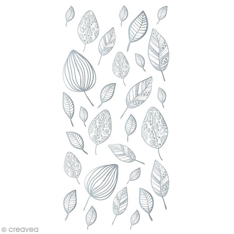 Sticker décoratif - Feuilles argentées - 2 à 5 cm - 29 pcs - Photo n°1