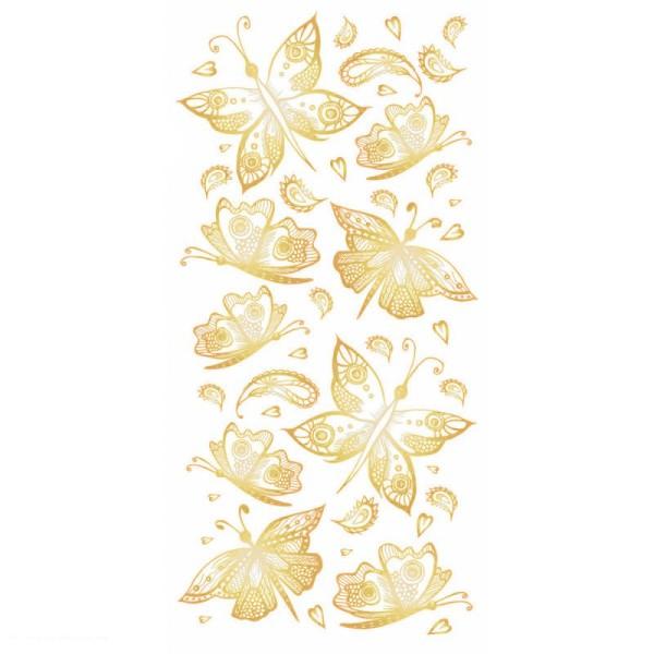 Sticker décoratif - Papillons dorés - 10 x 20 cm - 1 pce - Photo n°1