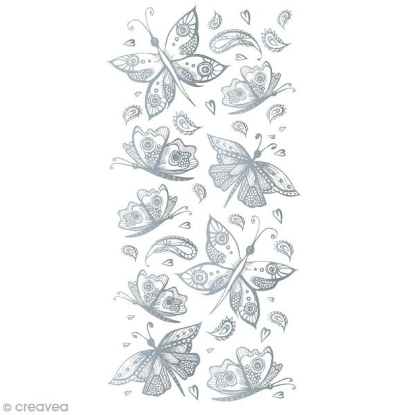 Sticker décoratif - Papillons argentés - 10 x 20 cm - 1 pcs - Photo n°1