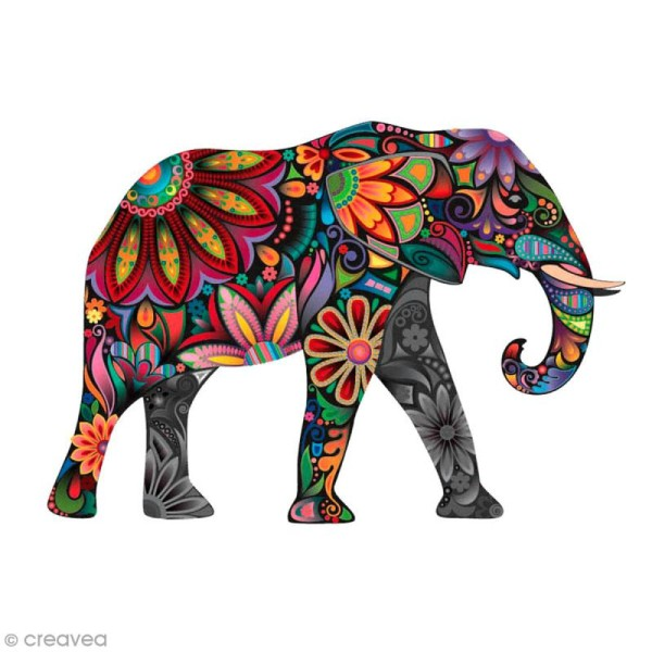 Sticker transfert thermocollant - Elephant - 5 x 10 cm - 1 pce - Photo n°1