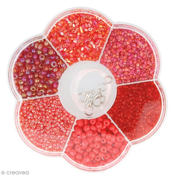 Assortiment de perles en plastique Artemio - Rouge - 130 g - Photo n°2
